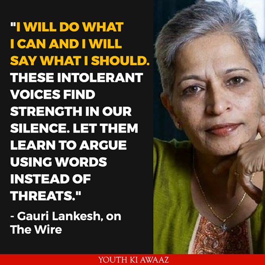 Gauri Lankesh not responding to threats