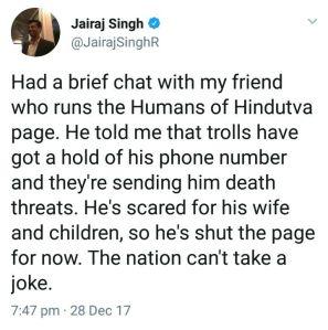 Humans of Hindutva Original Why he Shut Page